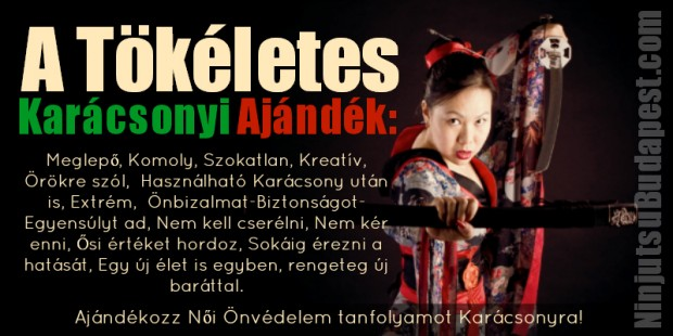 Ajándékozz Ninjutsu Női Onvédelem tanfolyamot karácsonyra. Harcművészet oktatása nőknek-csajoknak-hölgyeknek